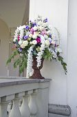 pic of manor  - vase with beautiful flowers bouquet on old manor house fence - JPG
