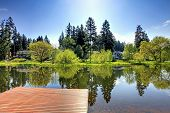 picture of dock a lake  - Beautiful view of lake and countryside houses from private dock on a sunny summer day - JPG