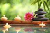 stock photo of serenity  - Spa still life with burning candles - JPG