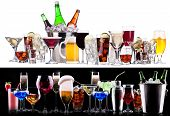picture of champagne color  - different alcohol drinks set   - JPG