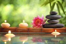 foto of bamboo  - Spa still life with burning candles - JPG