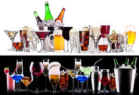 foto of champagne color  - different alcohol drinks set   - JPG