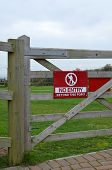 foto of no entry  - Gate mounted modern plastic no entry sign - JPG