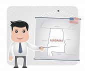 picture of alabama  - Man with a pointer points to a map of ALABAMA on a blackboard - JPG