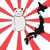 picture of japanese flag  - A white Japanese lucky cat  - JPG