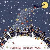 image of santa sleigh  - Santa Claus sleigh with reindeer fly over the city and throws gifts on the background of the moon - JPG