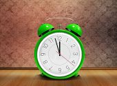 pic of count down  - Alarm clock counting down to twelve against grimy room - JPG