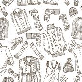 foto of knitted cap  - Outline Fashionable female knitted  clothing and accessories seamless pattern - JPG