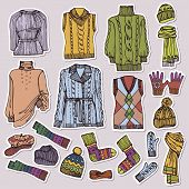 picture of knitted cap  - Multicolored Fashionable female knitted clothing and accessories set on Sketchy style - JPG