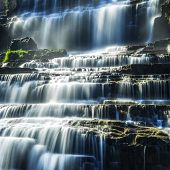 foto of tropical rainforest  - Tropical rainforest landscape with flowing Pongour waterfall - JPG