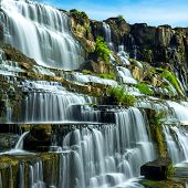 image of tropical rainforest  - Tropical rainforest landscape with flowing Pongour waterfall - JPG