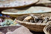 picture of local shop  - souvenir shop in Santa Fe new mexico with baskets of local rocks - JPG