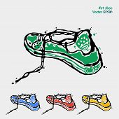 image of shoes colorful  - Speeding sports shoes logo icons for running sneakers are presented in four colors green blue red yellow - JPG