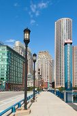 stock photo of prudential center  - Modern buildings in The financial district in Boston  - JPG