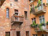 pic of juliet  - Windows and balconies in the museum courtyard Juliet in Verona - JPG