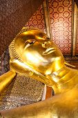 pic of recliner  - Reclining Buddha gold statue Wat Pho Bangkok Thailand - JPG