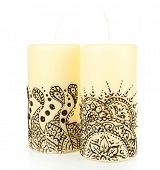 picture of mehendi  - Beautiful candles with mehendi - JPG