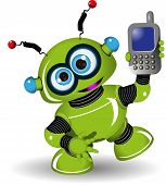 foto of toy phone  - Illustration cheerful green robot and a phone - JPG