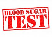stock photo of diabetes symptoms  - BLOOD SUGAR TEST red Rubber Stamp over a white background - JPG