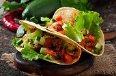 picture of shredded cheese  - Mexican tacos with meat - JPG