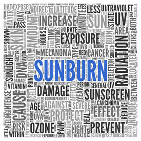 pic of ozone layer  - Close up Blue SUNBURN Text at the Center of Word Tag Cloud on White Background - JPG