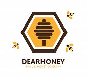 stock photo of honey bee hive  - Vector design element with honey and bee Logo - JPG