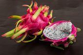 foto of dragon fruit  - Asian Dragon fruit on the wooden background - JPG