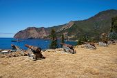 stock photo of off-shore  - Historic Spanish fort overlooking Cumberland Bay and the town of San Juan Bautista on Robinson Crusoe Island - JPG