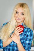 pic of blue-bell  - Beautiful young woman blonde with blue eyes and long straight hair - JPG