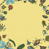 foto of summer insects  - Cute cartoon insect border pattern - JPG