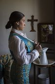 stock photo of bullfighting  - Woman Bullfighter waiting in hotel room before going to the bullring in Seville - JPG