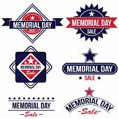 pic of memorial  - Vector set of Memorial day sale badges in blue and red colors - JPG