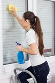 stock photo of window washing  - Young Woman Cleaning Windows Glass on ladder at the home - JPG