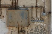picture of fuse-box  - Old electric switchboard with main box and switches - JPG