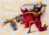 picture of sparta  - Lady destroys the jar by sword  - JPG