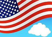 stock photo of waving american flag  - Flag of United States of American Waving on Blue Background - JPG