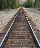 foto of railcar  - A rail line winds its way through trees and forests of the wild west - JPG