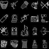pic of paintball  - Set of flat white line vector icons for paintball objects on black background - JPG