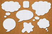stock photo of bubbles  - White paper bubbles for speech on an orange background - JPG