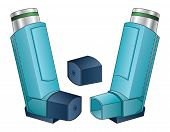 stock photo of inhalant  - Inhaler is an illustration of an inhaler used by people with asthma - JPG