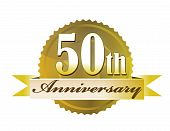 picture of 50th  - 50th year anniversary golden seal isolated over a white background - JPG