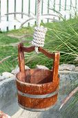 picture of pulley  - Close up Water Well With Pulley and Bucket - JPG