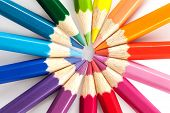 foto of color wheel  - Color pencils arranged in a color wheel on a white background - JPG