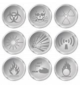 stock photo of hazardous  - Monochrome hazard related icon set isolated on white background - JPG