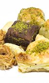 image of baklava  - Close view at the few Turkish baklavas - JPG