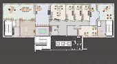 stock photo of straddling  - Plan of a large office with straddling furniture  - JPG