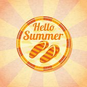 pic of shale  - Hello summer retro background with beach slippers - JPG