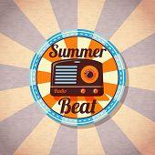picture of beat  - Retro summer beat radio badge - JPG