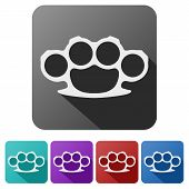 stock photo of brass knuckles  - Set Flat icons of brass knuckles - JPG