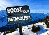 Boost Your Metabolism sign with sky background poster